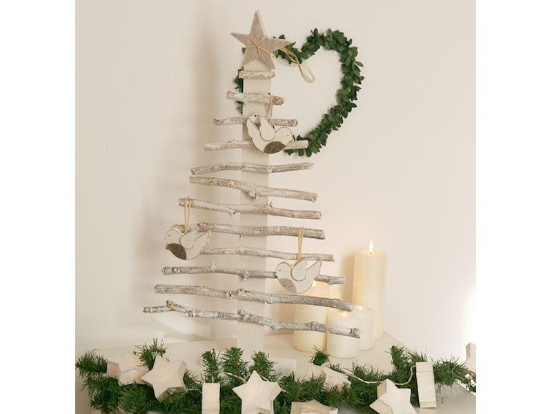 Alberi Di Natale In Legno Da Appendere : Alberi di natale in legno bianco shabby chic in legno albero di